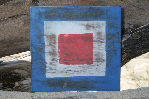 """W"" NAUTICAL RUSTIC FLAG 8' X 8' - WOOD PANEL - NAUTICAL DECOR"