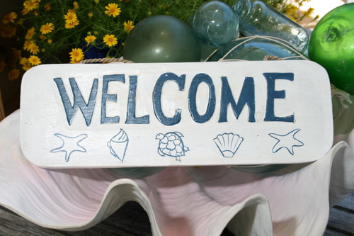 """WELCOME"" BEACH SIGN 14"" - RUSTIC WHITE & BLUE - COASTAL DECOR"