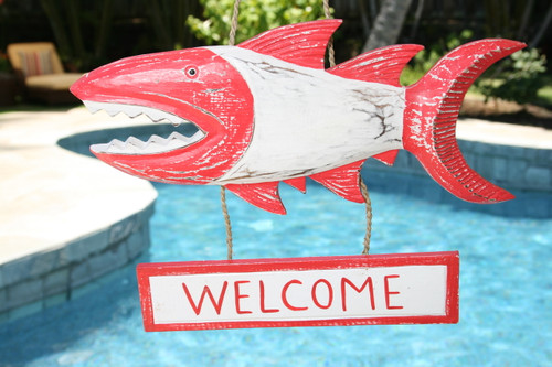 """""""WELCOME"""" SHARK ATTACK SIGN 15"""" RED - NAUTICAL DECOR"""