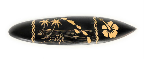 Surfboard w/ Sea Life & Hibiscus 16"