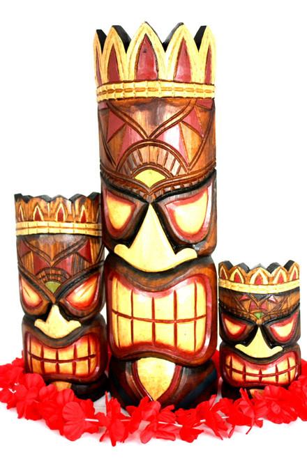 "Set of 3 Tiki Masks Fishing, Ocean, Happy 20"", 12"", 8"" | #ksa9025trio"