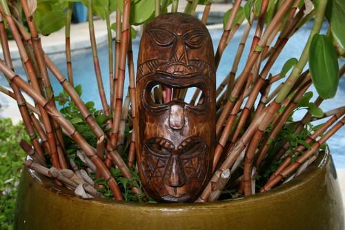 "FIJIAN TIKI MASK W/ 2 DEITIES - 12"" HAPPINESS & LUCK - POLYNESIAN ART"