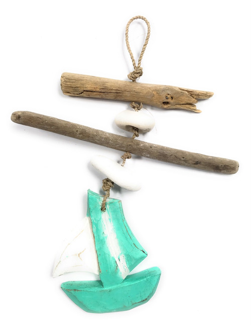 "Driftwood Boat Garland w/ White Stone 12"" Turquoise 
