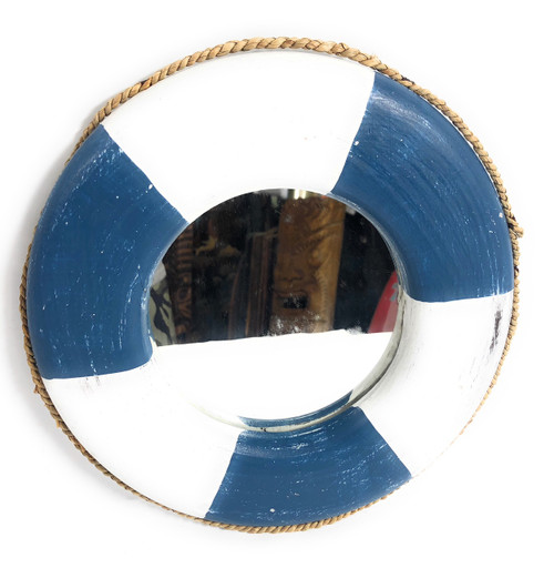 "Life Ring Buoy Preserver Mirror 12"" - Yellow Nautical Decor 