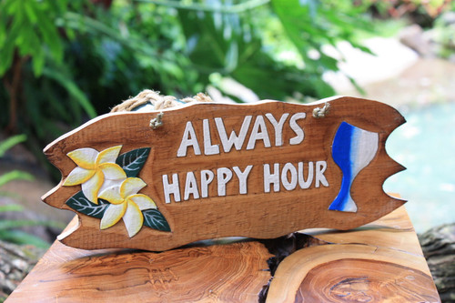 """Always Happy Hour"" with Plumeria and Cocktail Sign - Tiki Bar Decor"