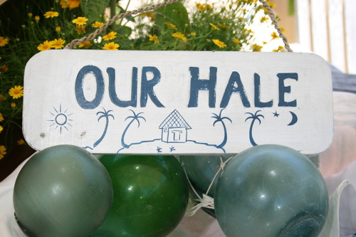 """OUR HALE"" BEACH SIGN 14"" - RUSTIC WHITE & BLUE - COASTAL DECOR"
