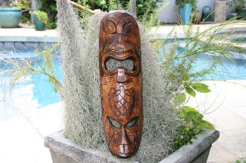 "FIJIAN TIKI MASK W/ 2 DEITIES - 20"" HAPPINESS & LUCK - POLYNESIAN ART"