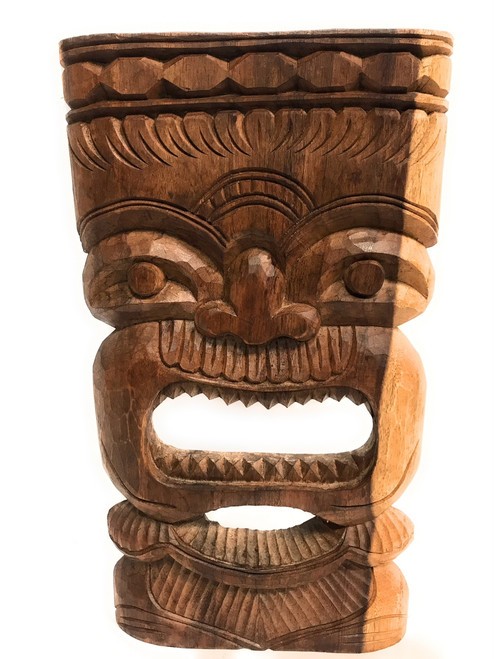 "Hand Carved Tiki Mask 18"" - Monkeypod - Wall Hanging 