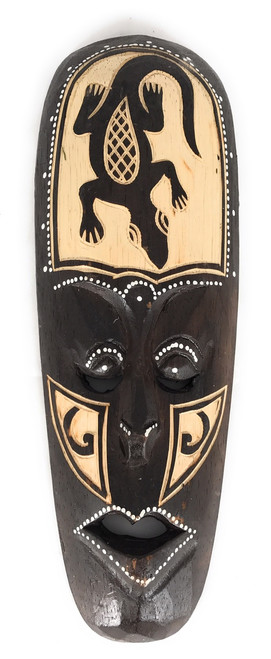 "Tribal Chief Mask 12"" w/ Gecko - Tiki Primitive Art 