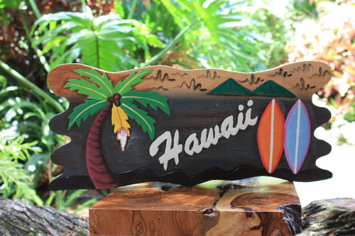 """Hawaii"" Surf Sign On the Beach Sign - Tiki Bar Decor 