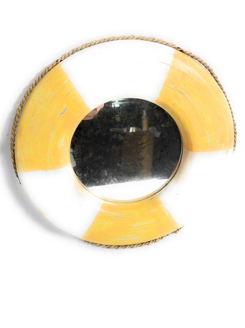 "Life Ring Buoy Preserver Mirror 12"" - Blue Nautical Decor 