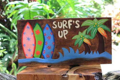 """""""Surf's Up"""" On the Beach Surfboards Sign - Beach Decor"""