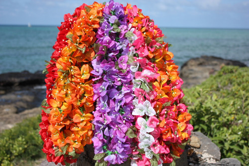 "Bougainvillea Poepoe, Assorted, 6 Pack 18"" - Hawaii Silk Leis"
