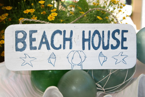 """BEACH HOUSE"" COTTAGE SIGN 14"" - RUSTIC WHITE & BLUE - COASTAL DECOR"