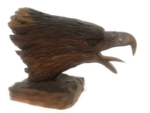 "Exquisite Screaming Eagle Head 10"" X 13"" Hand Carved 