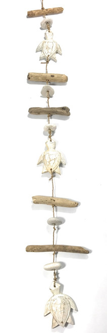 "Driftwood Garland Turtles w/ White Stone 40"" White - Cottage Accents 