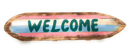 """""""Welcome"""" Rustic Sign on Wood Planks 40"""" 