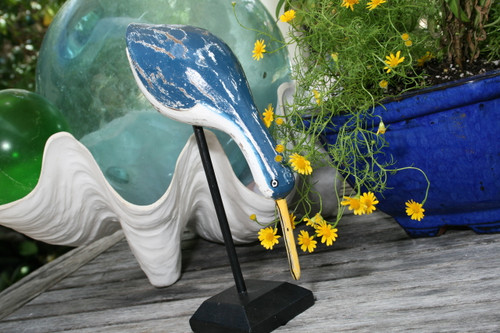"""EGRET BIRD"" - RUSTIC BLUE COASTAL 14"" - GARDEN/HOME DECOR"