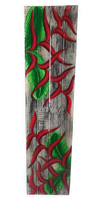 "Heliconia Flower Painting on Wood Planks 32"" X 8"" Rustic Wall Decor 