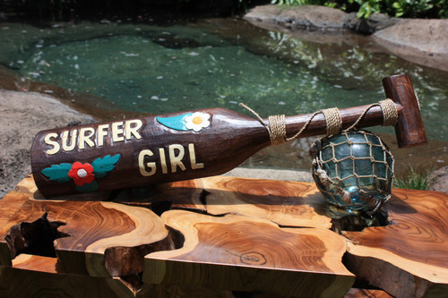 """Surfer Girl"" Surf Sign Hanging Paddle 24inch - Aloha"