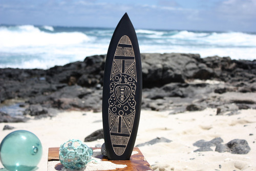 "Wooden Surfboard w/ Trible Turtle 20"" - Surf Decor"