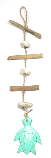 """Driftwood Garland w/ Turtle 20"""" Turquoise - Rustic Cottage Accents 