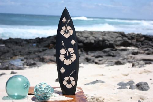 "Wooden Surfboard w/ Hibiscus Flowers 20"" - Surf Decor"