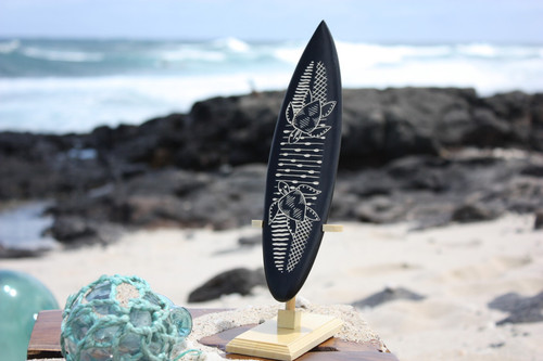 "Surfboard On Stand w/ Swimming Turtles 10"" - Trophy"