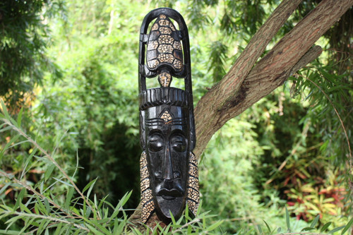 "NATIVE TIKI MASK TURTLE HEADDRESS 20"" - ISLAND DECOR"