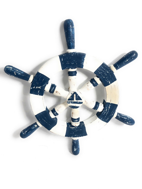 "Decorative Ship Wheel 16"" Wooden - Rustic Blue Nautical Decor   #ort1701040b"