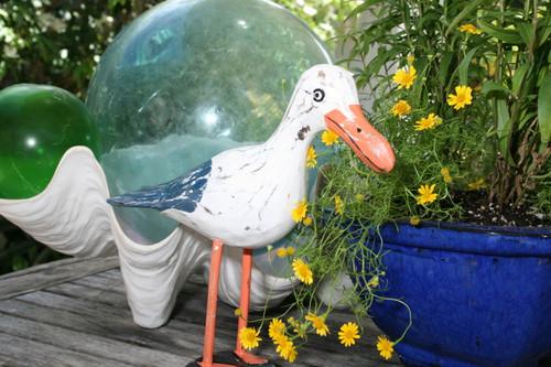 """""""SEAGULL BIRD"""" - RUSTIC BLUE COASTAL 14"""" - GARDEN/HOME DECOR"""