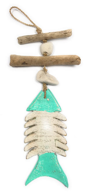 "Driftwood Garland Fish w/ White Stone 12"" Turquoise - Rustic Cottage Accents 