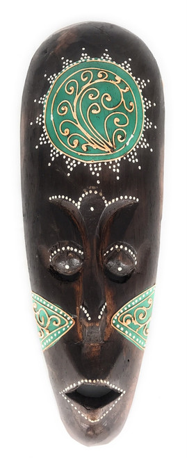 "Tribal Tiki Mask 12"" Green - Tattoo Primitive Art 