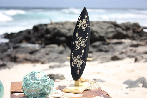 "Surfboard On Stand w/ Turtle Ohana 10"" - Trophy"