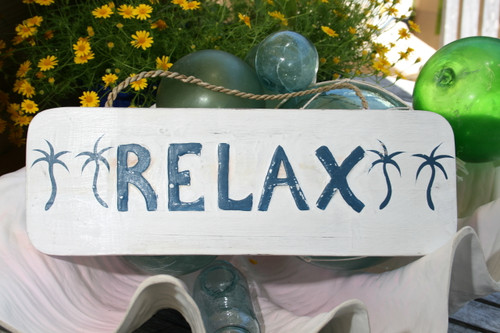 """RELAX"" COTTAGE/BEACH SIGN 14"" - RUSTIC WHITE & BLUE - COASTAL DECOR"
