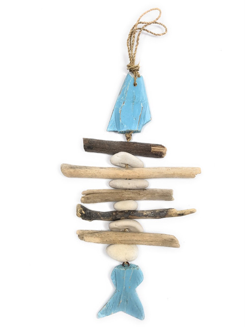 "Driftwood Fish w/ White Stone 12"" Blue - Rustic Cottage Accents 