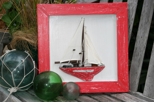 "FRAMED ""SAIL BOAT"" RED COASTAL 16"" - HAND CARVED - NAUTICAL DECOR"
