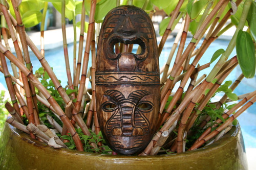 "FIJIAN TIKI MASK - 12"" LOVE & PROSPERITY - HAND CARVED"