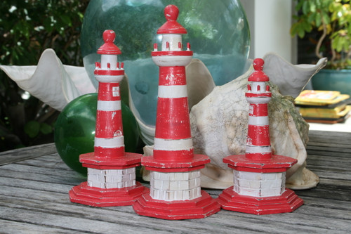 "SET OF 3 ""LIGHTHOUSES"" - RUSTIC RED NAUTICAL - NAUTICAL DECOR"