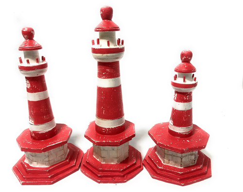 """Set Of 3 Lighthouses 9"""", 8"""" & 7"""" - Red Nautical Decor 