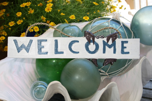 """WELCOME"" W/ CRAB COTTAGE/BEACH SIGN 14"" - RUSTIC WHITE & BLUE - COASTAL DECOR"