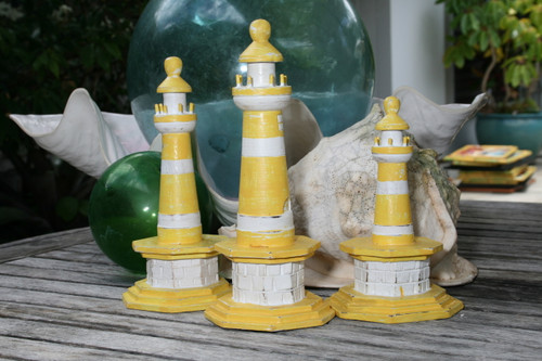 "SET OF 3 ""LIGHTHOUSES"" - RUSTIC YELLOW NAUTICAL - NAUTICAL DECOR"