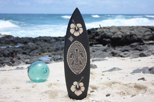 "Wooden Surfboard w/ Turtle & Hibiscus 30"" - Hawaii Decor"