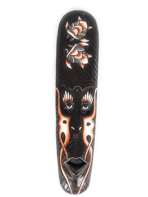 "Tribal Tiki Mask 20"" w/ Turtles - Primitive Art | #wib370650b"