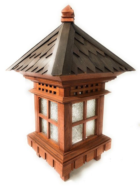 "Balinese Lantern 24"" w/ Shingle Roof & Glass Siding 