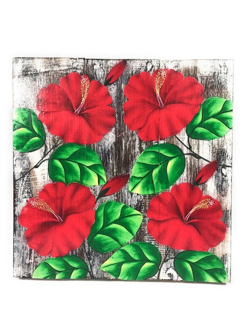 """Hibiscus Flower Painting on Wood Planks 12"""" X 12"""" Rustic Wall Decor 
