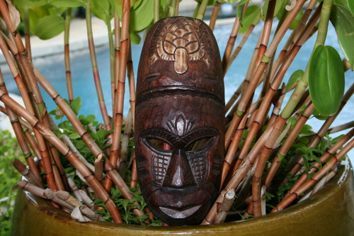 "FIJIAN TIKI MASK W/ TURTLE - 12"" WINNER TIKI - HAWAIIAN DECOR"
