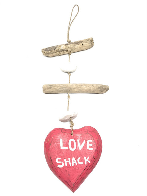 "Love Shack Driftwood Garland w/ White Stone 12"" - Rustic Cottage Accents 