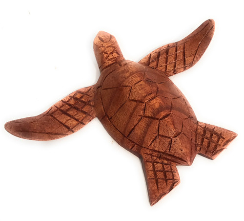 "Carved Hawaiian Sea Turtle Honu 6"" Stained - Hand Carved 