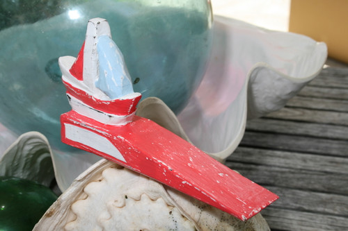 """""""SAIL BOAT"""" DOOR STOPPER 4"""" RED - NAUTICAL DECOR"""
